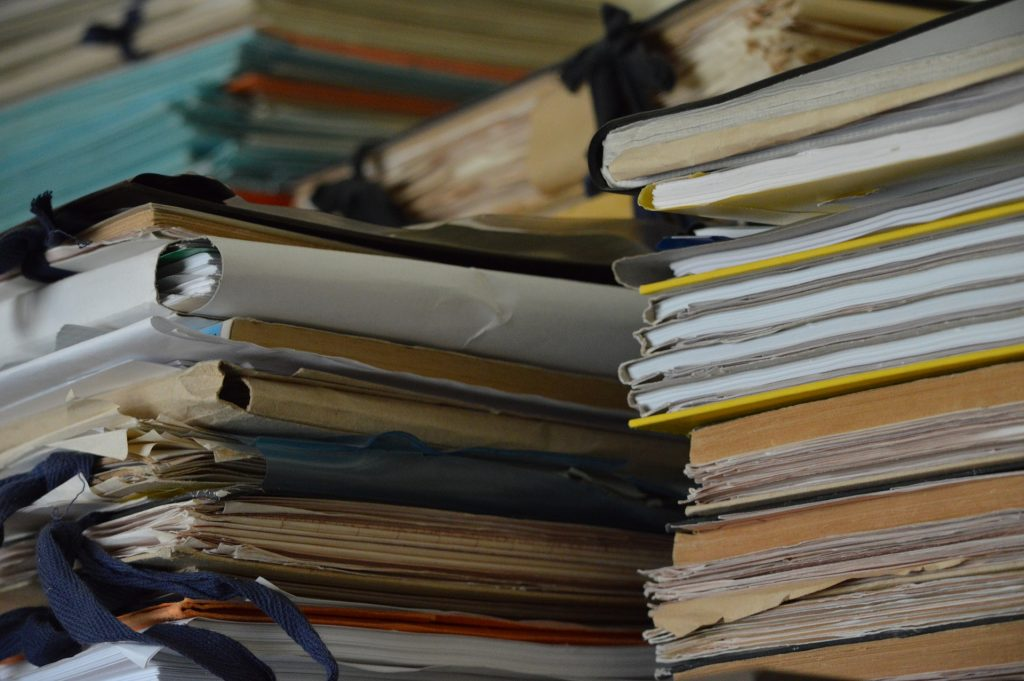 Small self storage units are the perfect place to keep piles of files like this.